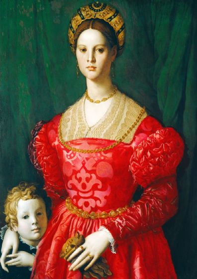 Bronzino, Agnolo: A Young Woman and Her Little Boy. Fine Art Print/Poster. Sizes: A4/A3/A2/A1 (001976)